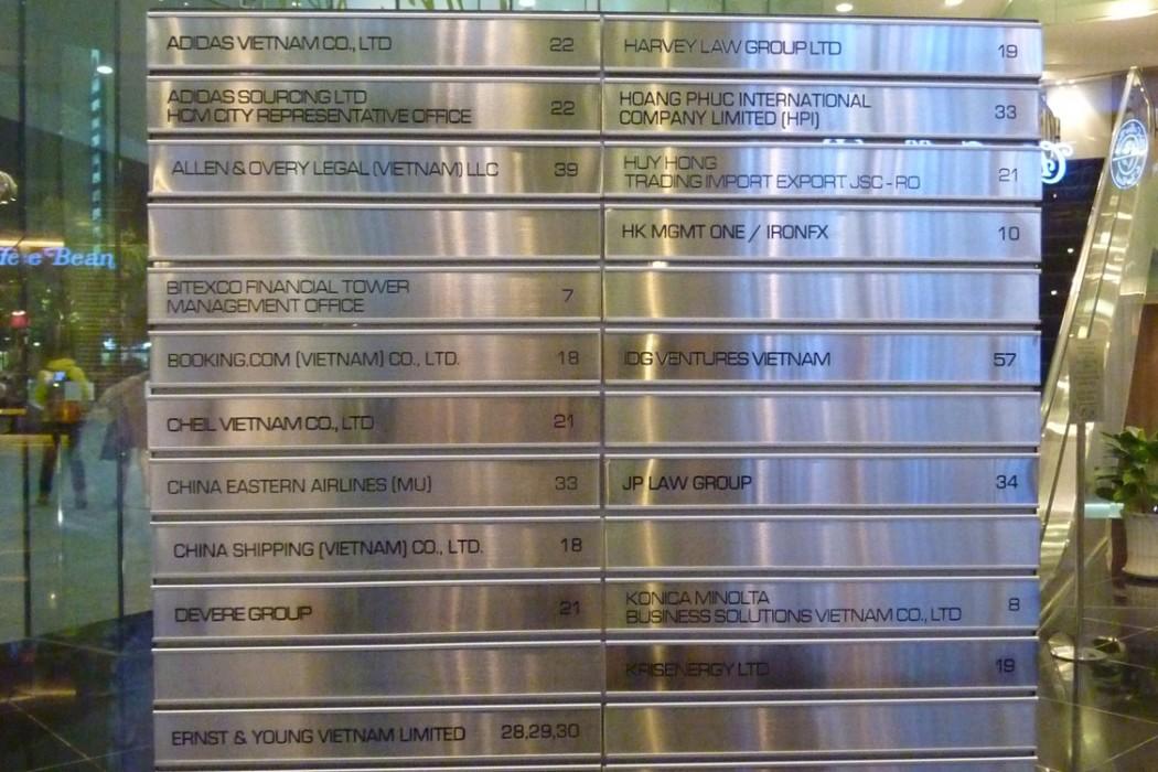 Liste complète des noms de toutes les entreprises de la tour...