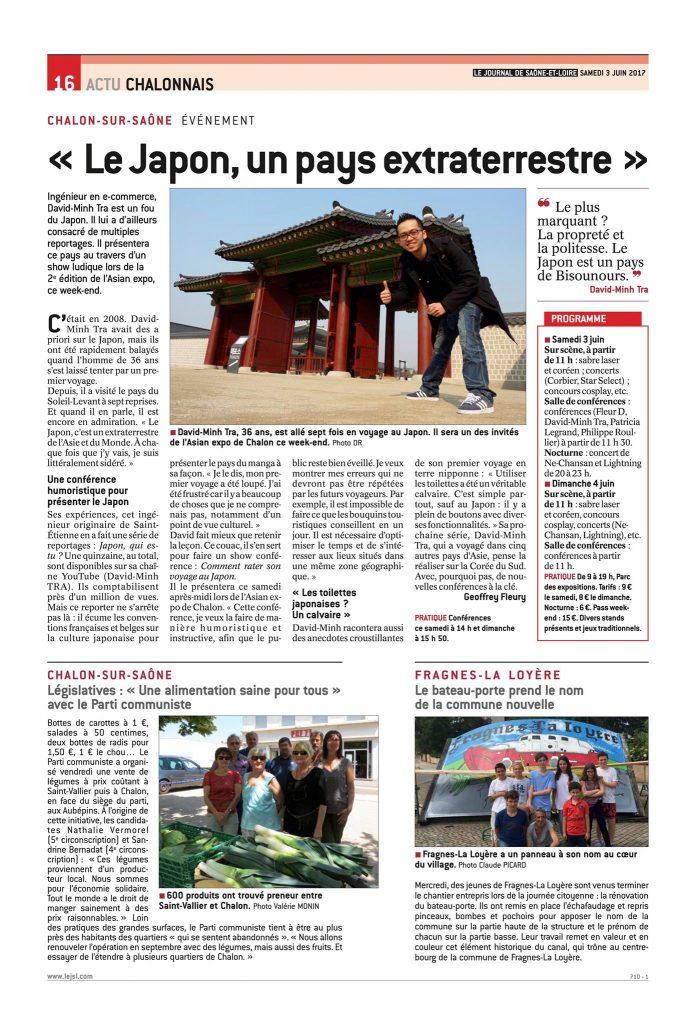 David-Minh TRA dans le Journal de Saone-et-Loire Juin 2017